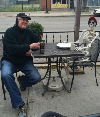 jerry dines with a (skeleton) friend