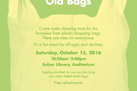 Looking for a Fun Service Event? New Life for Old Bags – Sat 10/15 10:30am